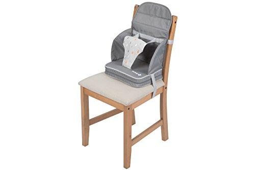 Safety 1st 2750191000 Sitzerhöhung Travel Booster, kompakt zusammenfaltbare Reisesitzerhöhung, inkl. 3-Punkt-Gurt für einen sicheren Halt, ab ca. 18 Monate, warm grey, grau