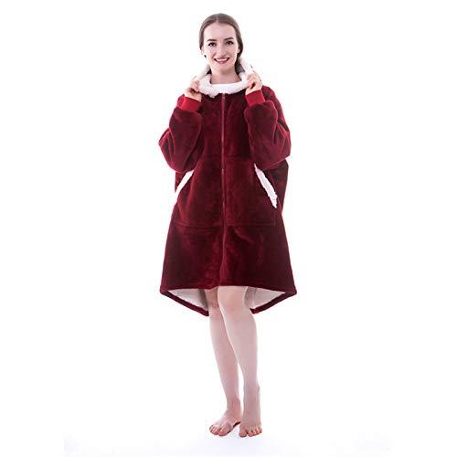 Teeyyui Sudadera con capucha, manta de sofá de forro polar de gran tamaño, con cremallera, cálida pijama con capucha, suave y cómoda manta de TV con bolsillo (rojo vino)