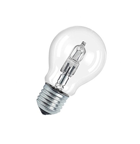 Osram Classic A Halogen-Lampe, E27-Sockel, dimmbar, 57 Watt - Ersatz für 75 Watt, Warmweiß - 2800K, 5er-Pack
