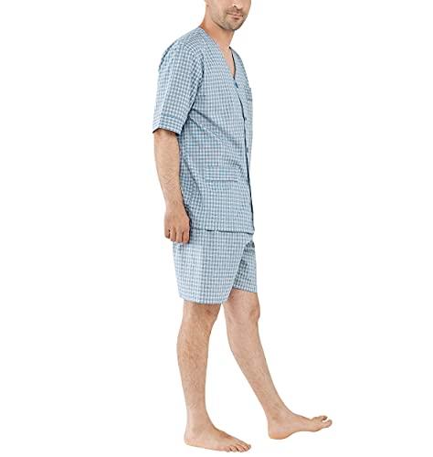 El Búho Nocturno - Pijama Hombre Corto Judo Popelín Cuadros Verde 100% algodón Talla 7 (XXXL)
