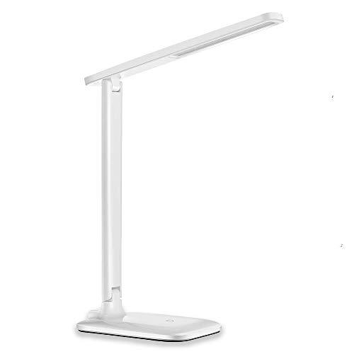 LED Büro Tischleuchte 5 Farb und 3 Helligkeitsstufen dimmbar Touchbedienung USB-Anschluss Weiß schreibtischlampen