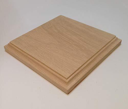 HEWA Holzsockel Sockel Standplatte Grundplatte Quadratisch massiv Eiche unbehandelt, Größe wählbar (60 mm)