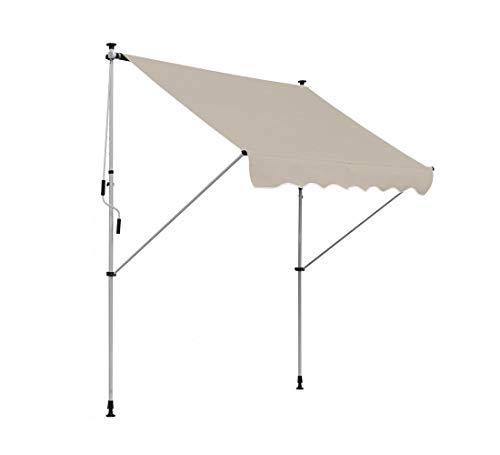 Clothink Klemmmarkise BxH:300x120cm Beige Balkonmarkise Sonnendach Markise mit Gestell einrollbar Sonnenschutz höhenverstellbar Ohne Bohren
