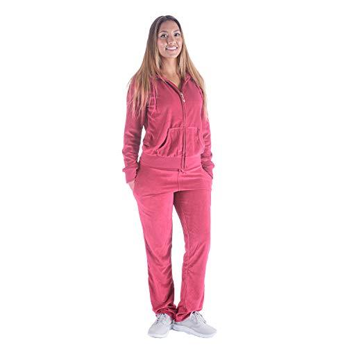 TanBridge Women Velour Tracksuit Set 2 Piece Outfit Hoodie & Sweatpants Jogger Sets Coral L