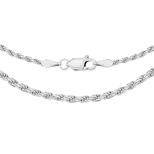 Tuscany Silver Women's Sterling Silver 1.8 mm Diamond Cut Rope Chain Necklace of Length 46 cm/18 Inch