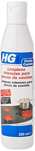 HG Limpieza intensiva para placas de cocinas 250 ml - Elimina la suciedad difícil y la comida quemada - un brillo protector