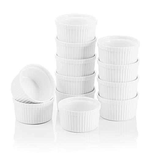 MALACASA, Serie Ramekin.Dish, 12-teilig Set, Mini Souffléförmchen Muffinförmchen 9 cm Porzellan Muffin Cupcake Back Auflaufformen
