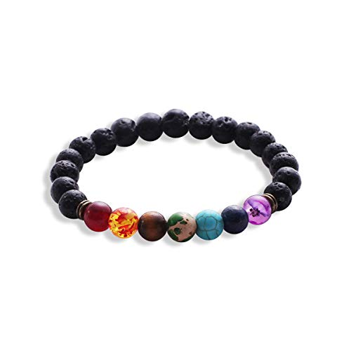 Sonew Pulseras de Piedras de Lava brazaletes Beaded Bracelet 7 Chakras Elastic Rope Natural Stone Yoga Beads brazaletes Brazalete para Hombres Mujeres