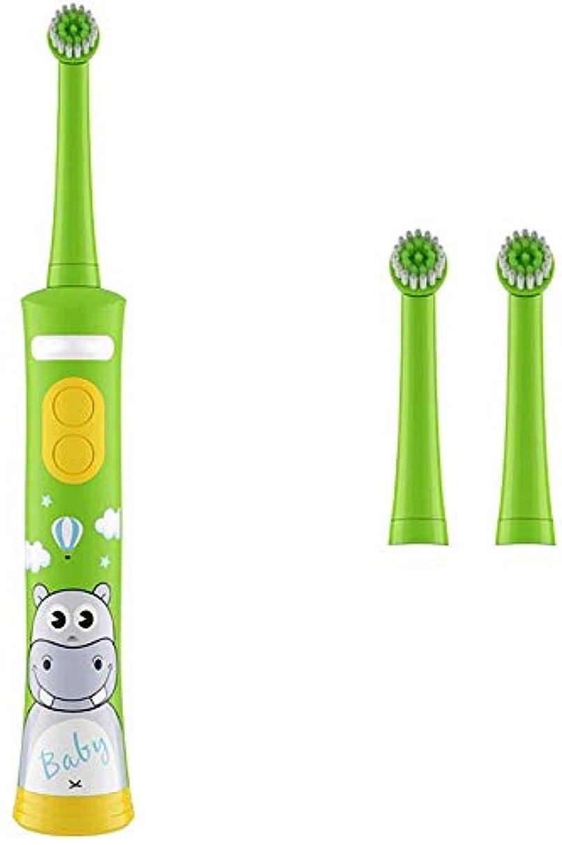 容疑者無謀おいしい6-12歳の青いケーブル+ 2つのスペアブラシヘッドを充電と音楽電動音波歯ブラシ4-15歳ロータリー自動歯ブラシ柔らかい毛 Alysays (Color : Green)