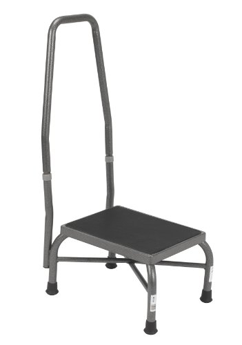 Drive Medical Heavy Duty Bariatric Footstool with Handrail and Non Skid Rubber Platform, Silver Vein