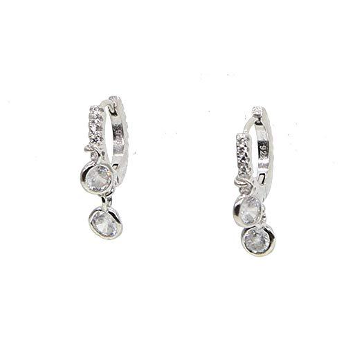 Yhhzw Pendientes De Aro De Diamantes De Imitación Redondos Pequeños De Plata De Ley 925, Regalo De Joyería Delicado De Moda Para Mujer Bonita