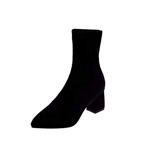 Shukun laarsjes spits hoge hakken dames gebreide sokken laarzen dunne elastische laarzen herfst dik met vrouwen laarzen zwart