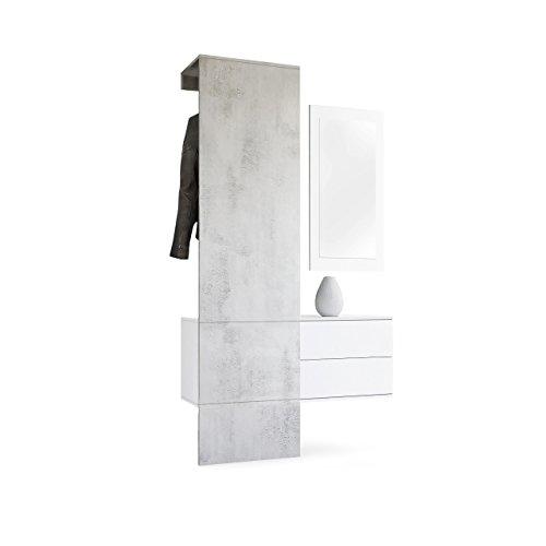 Vladon Garderobe Wandgarderobe Carlton Set 2, Korpus in Weiß matt/Paneel in Beton Oxid Optik