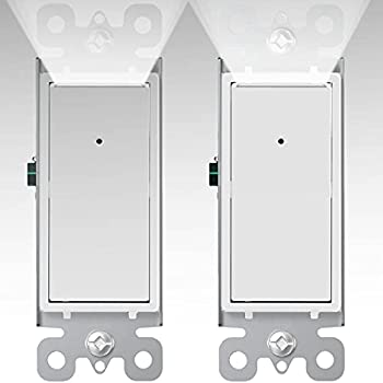 SOZULAMP Illuminated Light Switch with Night Light-Combination Single Pole Decorator Electrical Rocker Wall Switches Guide Light-15Amp 120/277V,No Neutral Required,Dusk-to-Dawn Sensor Nightlight,2Pack