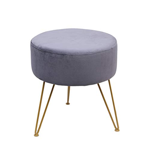 Ottoman StoolModern Round Velvet Storage Ottoman Foot Rest Stool/Seat with Gold Metal Legs amp Tray Top Coffee Table Gray