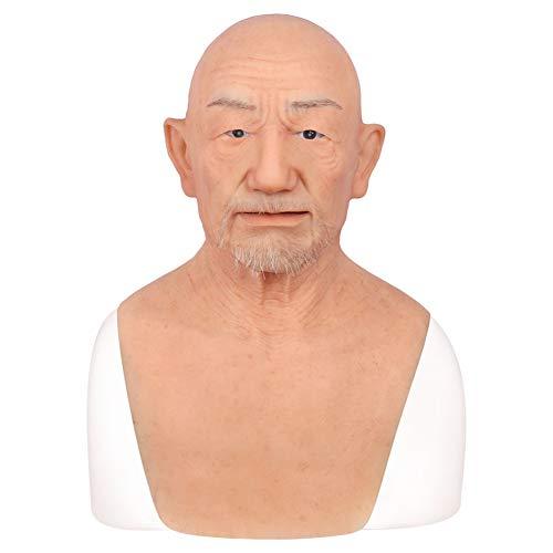 YQYAH Silikon Alter Mann Maske Realistische Silikon Bart Crossdresser Transvestite Transgender Realistische Prop Gesichtsmaske Neuheit Cosplay Kostüm,Tan