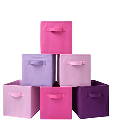 Homelife Assortiment de 6paniers de rangement pliables en forme de cube pour le linge, la literie, les jouets et autres (rose