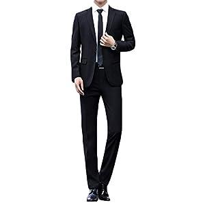 JEAREY スーツメンズ 上下セット セットアップ ビジネススーツ 1つボタン スリム オシャレ 通勤 結婚式 礼服 就職スーツ オールシーズン 無地 4色