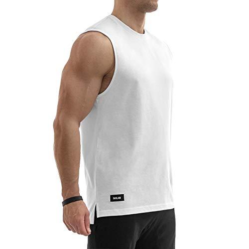 Sixlab Side Split Muscle Tank Top Herren Fitness Shirt Gym (XXL, Weiß)