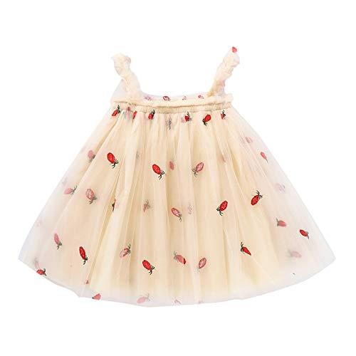 Vestido Nia con Tirantes Verano Tul Estampado de Pia de Frutas Sin Mangas Vestidos Princesa para Nias Ropa Bebe Recien Nacido Nia (Amarillo, 18-24 Meses)