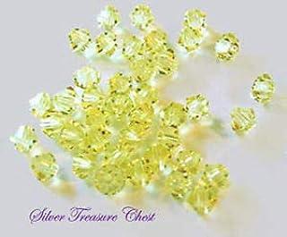 30PK Jonquil Swarovski Crystal Bicone 4mm Bead 5301 Crafting Key Chain Bracelet Necklace Jewelry Accessories Pendants