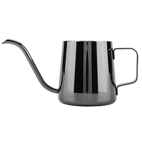 Taza de café generosa elegante y fácil de sujetar, hervidor de café de acero inoxidable, hervidor de café para verter, cocina, oficina para el(Shiny black)