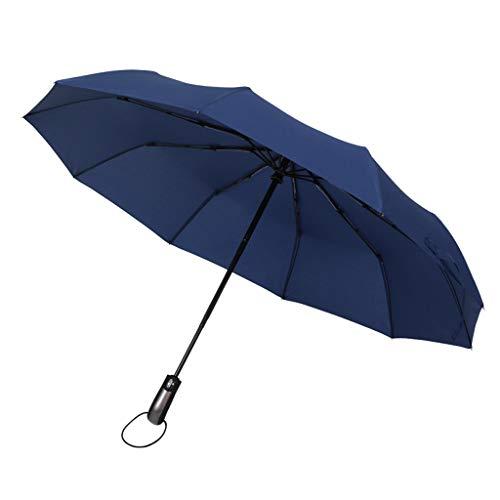 F Fityle Unisex Schirm Regenschirm Sturmfest Kompaktschirme Auf-Zu Automatik Anti-UV Regenschirm Groß Taschenregenschirm - Navy