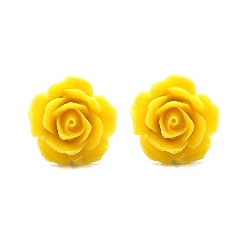Idin Orecchini a clip - Fiori gialli (grande - ca. 18 mm di diametro)