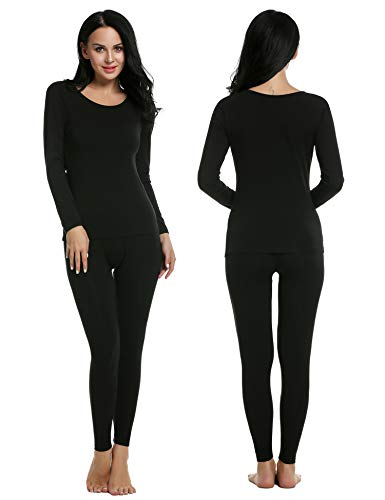Ekouaer Thermal Underwear Women Comfy Long Johns & Top Pajama Plus Size (Black, XXL)