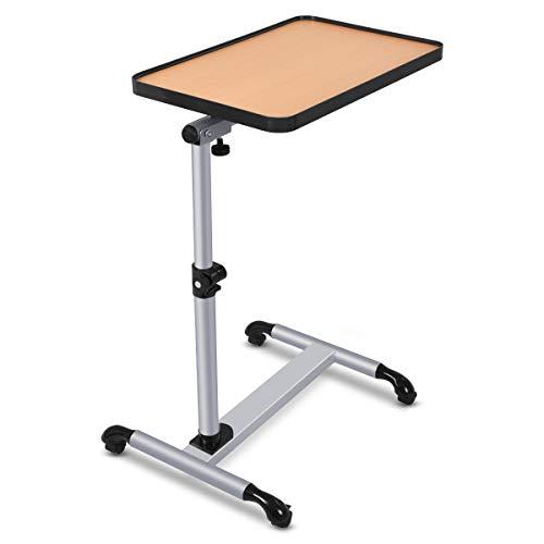 COSTWAY Laptoptisch mit Rollen, Beistelltisch Notebooktisch Höhe/Winkel verstellbar, Rollentisch mit Bremsen Pflegetisch Couchtisch Notebooktisch 52x45x58-90cm