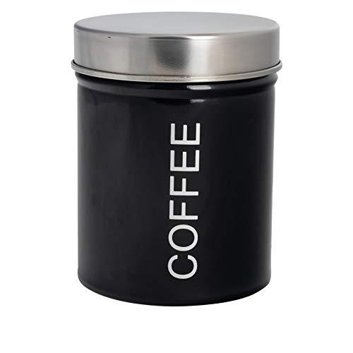 Harbour Housewares Moderne Kaffeebehälter - Stahl Küche Lagerung Caddy mit Gummidichtung - Schwarz - 10cm