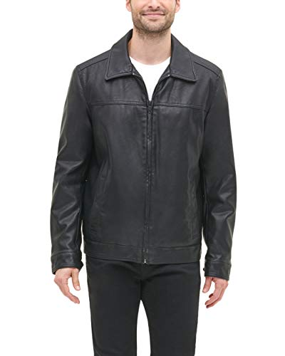 Tommy Hilfiger Men's Big and Tall Classic Faux Leather Jacket, black, X-LargeT
