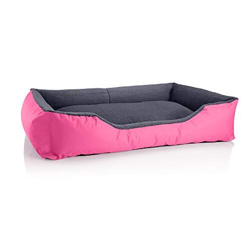 BedDog® Hundebett Teddy, Hundesofa aus Cordura und Microfaser-Velours, waschbares Hundebett mit Rand, Hundekissen Vier-eckig, für drinnen, draußen, Größe XXL, pink-grau
