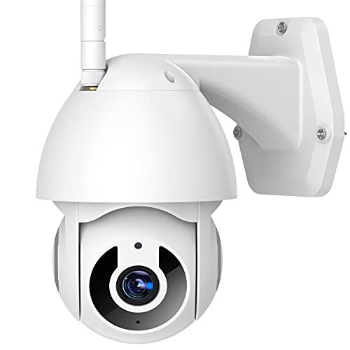 1296P Camaras de Vigilancia WiFi Exterior,PTZ Camara Vigilancia Wifi Exterior/Interior con Rastreo de Movimiento,Visión Nocturna,Detección de Movimiento/Personas,Audio de 2 Vías,Notificación de Alarma