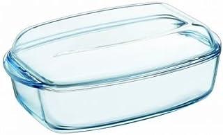 Pyrex - Fuente resistente al calor e ignífuga,envase para asar con tapa de cristal, vidrio, 7 L