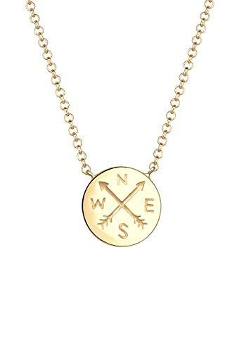 Elli Halskette Damen Plättchen Kompass Wanderer Reise Trend in 925 Sterling Silber