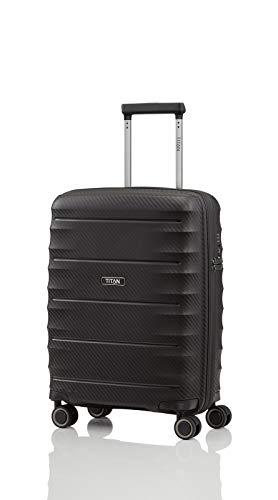 TITAN 4-Rad Handgepäck Koffer mit TSA Schloss, erfüllt IATA-Bordgepäckmaß, Gepäck Serie HIGHLIGHT: Leichte Hartschalen Trolleys im Carbon Look, 842406-01, 55 cm, 38 Liter, black (schwarz)