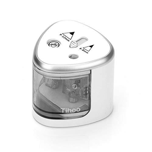 Timetided Sacapuntas eléctrico compacto de doble agujero con boceto artístico, papelería escolar, sacapuntas automático, accesorios de oficina