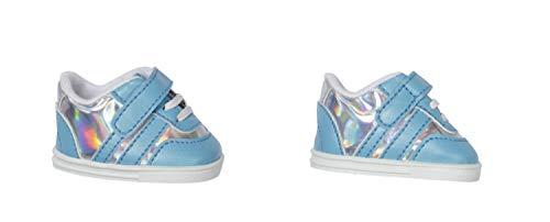 Zapf Creation 831779 BABY born Sneakers blau 43 cm - hellblau silber glitzernde Puppenschuhe