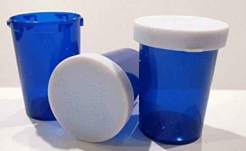Plastic Prescription Cobalt Blue Vials/Bottles Large 20 Dram w/Non-CHILDPROOF Snap Caps 25 Pack