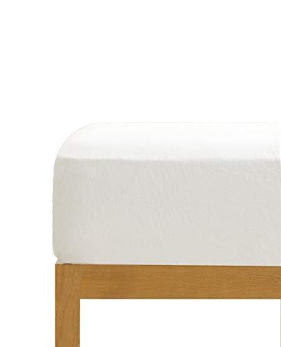 Sábana Bajera Ajustable Blanca 100% algodón Cama de 150 cm (150x190/200 cm)