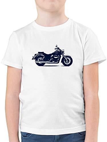Kinder Traktor Bagger und Co. - Motorrad - 152 (12/13 Jahre) - Weiß - Jungen Shirt Motorrad - F130K - Kinder Tshirts und T-Shirt für Jungen
