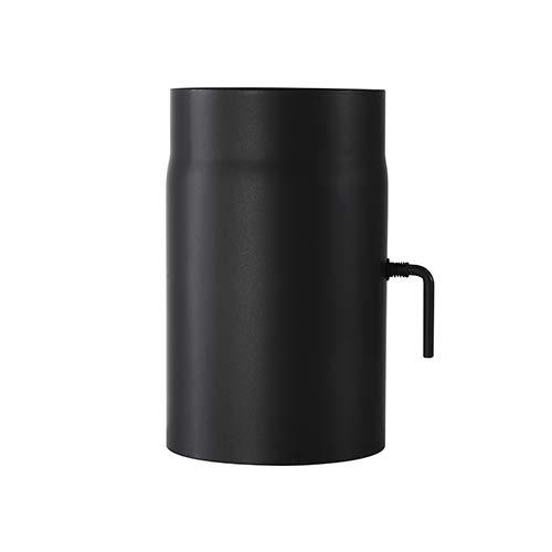 Ofenrohr Senotherm mit Drosselklappe Wandstärke 2 mm Ø 150 hitzebeständig lackiert - Rauchrohr, Kaminrohr schwarz - für Kaminöfen - Länge: 250 mm