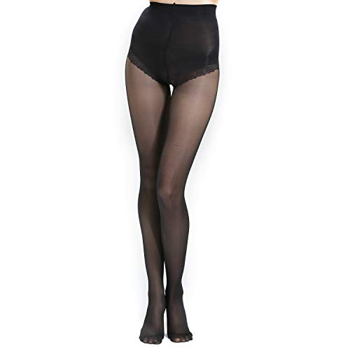 WEANMIX Women's Control Top Sheer 40D Solid Color Tights Pantyhose Reinforced Toe Silk Stockings (Black, Teenager)