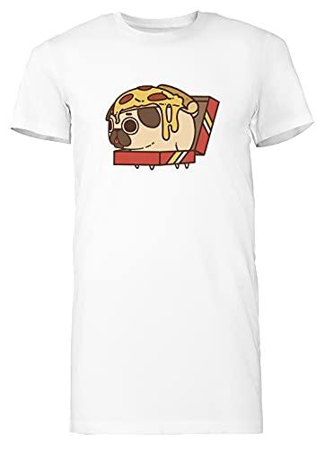 Pizza Puglie - Doguillo Mujer Camiseta Larga tee Blanco Women's White T-Shirt Long