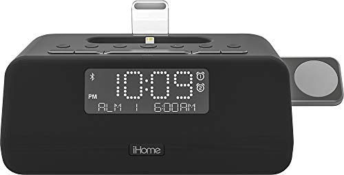 iHome iPLWBT5B Alarm Clock FM Bluetooth Radio with Lightning iPhone and iWatch Charging Dock Station for iPhone XS, XS Max, XR, X, iPhone 8/7/6 Plus USB Port to Charge any USB Device