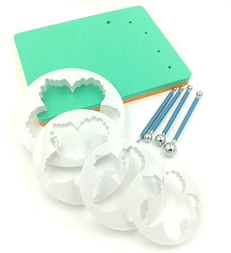 Sugar and Cakes 9 Set Foam Pad Veiner Modellierpad Pfingstrosen Rosen Ausstecher Ball Tools Metall Modellierset Modellierwerkzeug Fondant