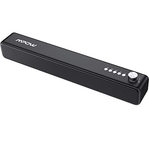 PC Soundbar, Mpow Wired and Wireless Computer Speaker with 3D Stereo Surround AUX/Bluetooth/USB Connection,Bluetooth 5.0 PC Soundbar with 4 Drivers, HD Sound System, for Desktop, Laptop, Table