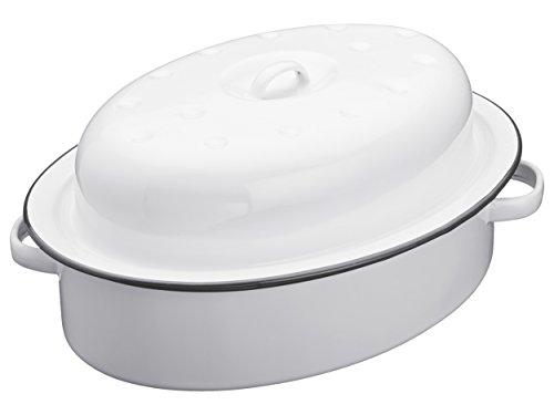 Kitchen Craft 33,5 x 24 x 14,5 cm Living Nostalgia apta para cocinas de inducción esmaltada fuente para horno ovalada con tapa, blanco/gris