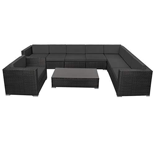 Montafox 24-teilige Polyrattan Lounge 8 Personen Gartenmöbel...